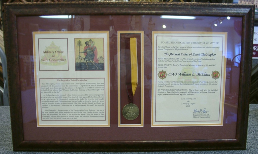 certificate and medallion